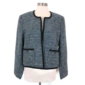 ROZ & ALI Tweed Open Front Blazer